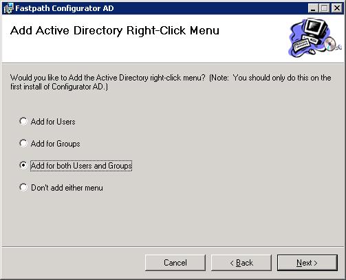 Fastpath Configurator AD - Add Active Directory Right-Click Menu