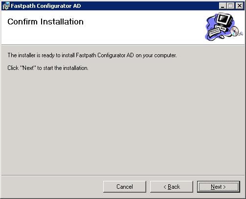 Fastpath Configurator AD - Confirm Installation