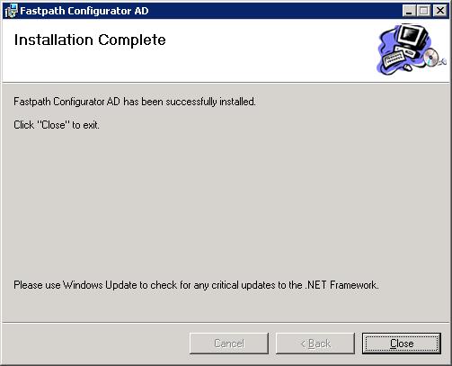 Fastpath Configurator AD - Installation Complete