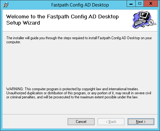 Fastpath Config AD Desktop: Welcome to the Fastpah Config AD Desktop Setup Wizard