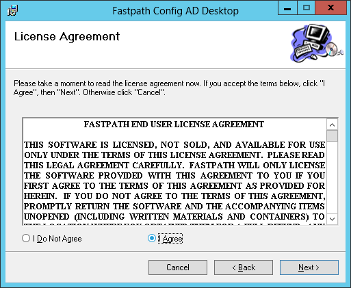 Fastpath Config AD Desktop: License Agreement