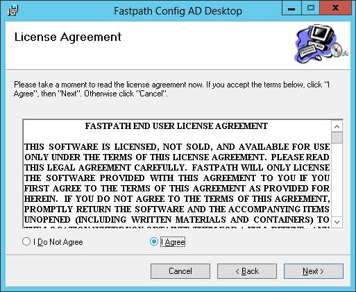 Fastpath Config AD Desktop: License Agreement