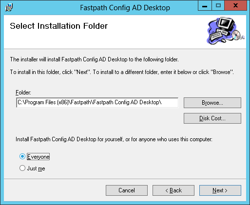Fastpath Config AD Desktop: Select Installation Folder