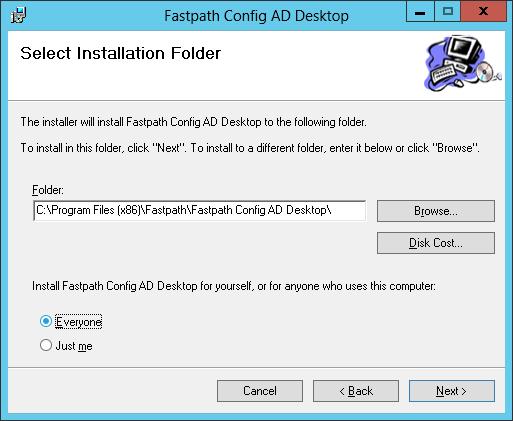 Fastpath Config AD Desktop: Select Installation Folder