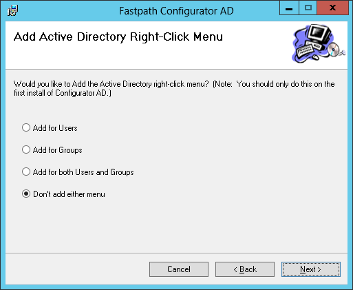 Fastpath Configurator AD: Add Active Directory Right-Click Menu