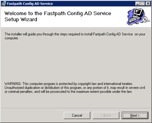 Fastpath Config AD Service: Welcome to the Fastpath Config AD Service Setup Wizard