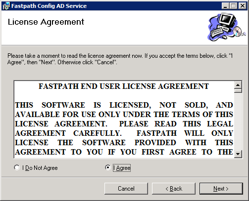 Fastpath Config AD Service: License Agreement