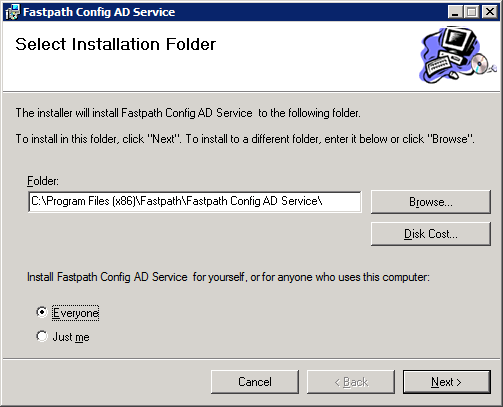 Fastpath Config AD Service: Select Installation Folder