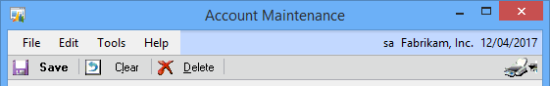 Account Maintenance menu bar