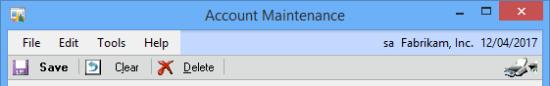 Account Maintenance menu bar
