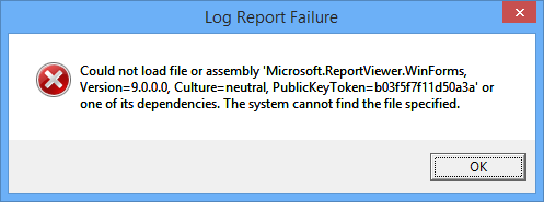 Log Report Failure: Could not load file or assembly 'Microsoft.ReportViewer.WinForms, Version=9.0.0.0, Culture=Neutral, PublicKeyToken=b03f5f7f11d50a3a' or one of its dependencies. The system cannot find the file specified