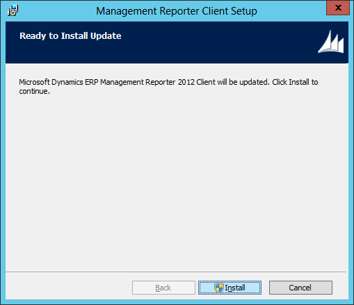 Management Reporter Client Setup - Ready to Install Update