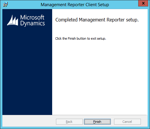 Management Reporter Client Setup - Completed Management Reporter setup