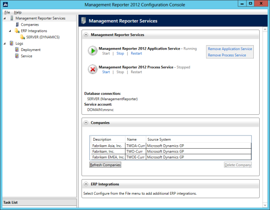 Management Reporter 2012 Configuration Console