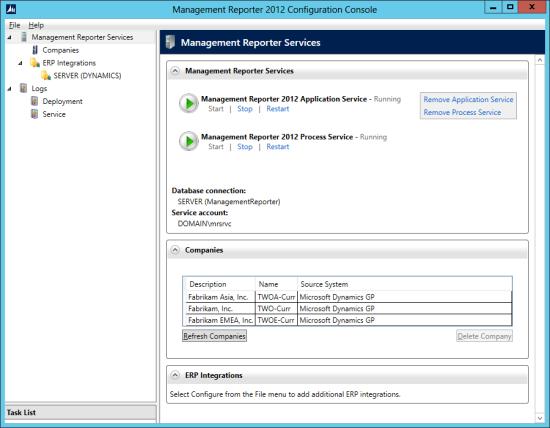 Management Reporter 2012 Configuration Console
