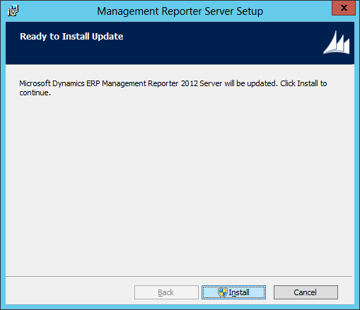 Management Reporter Server Setup - Ready to Install Update