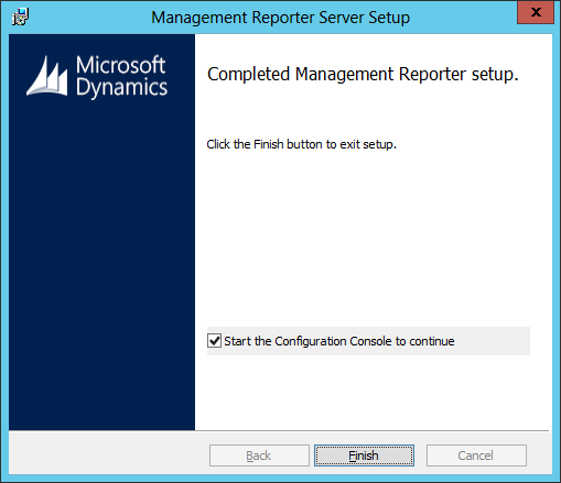 Management Reporter Server Setup - Completed Management Reporter setup