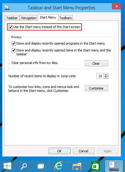 Taskbar and Start Menu Properties - Start Menu