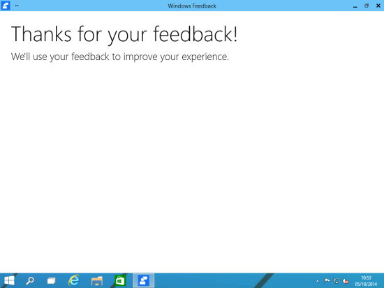 Windows Feedback - Thanks for your feedback!