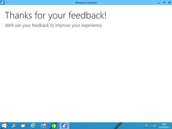 Windows Feedback - Thanks for your feedback!