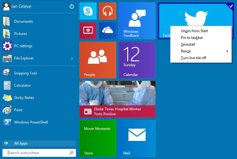 Windows 10 Technical Preview: Start Menu Customisation