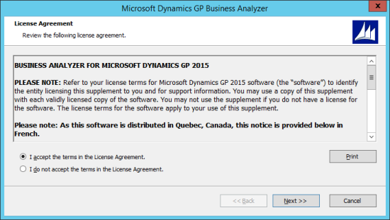 Microsoft Dynamics GP Business Analyzer - License Agreement