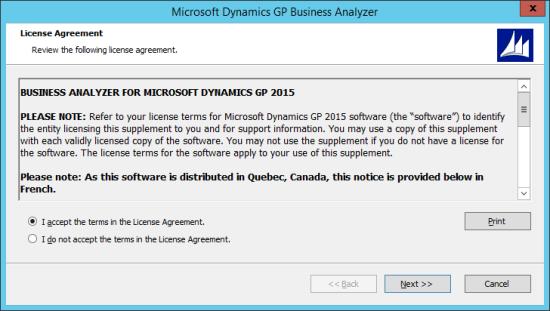 Microsoft Dynamics GP Business Analyzer - License Agreement