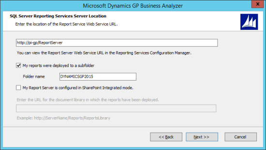 Microsoft Dynamics GP Business Analyzer - SQL Server Reporting Services Server Location