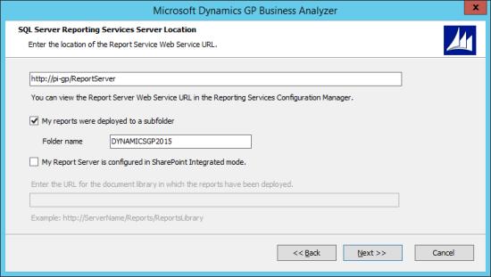 Microsoft Dynamics GP Business Analyzer - SQL Server Reporting Services Server Location