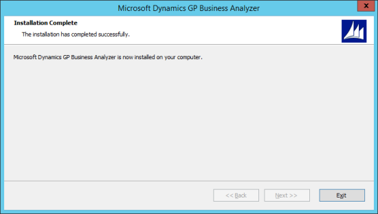 Microsoft Dynamics GP Business Analyzer - Installation Complete