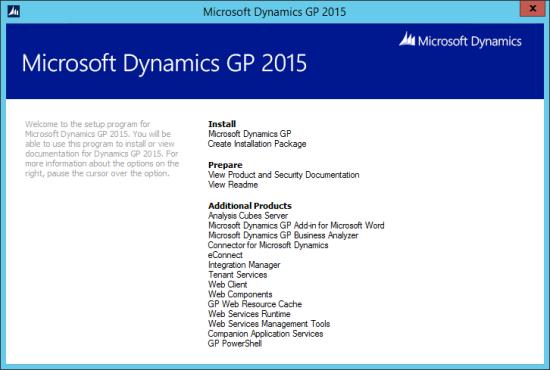 Microsoft Dynamics GP 2015 - Setup Utility
