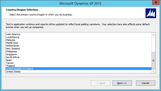 Microsoft Dynamics GP 2015 - Country/Region Selection