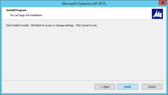 Microsoft Dynamics GP 2015 - Install Program