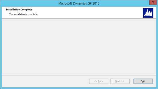 Microsoft Dynamics GP 2015 - Installation Complete