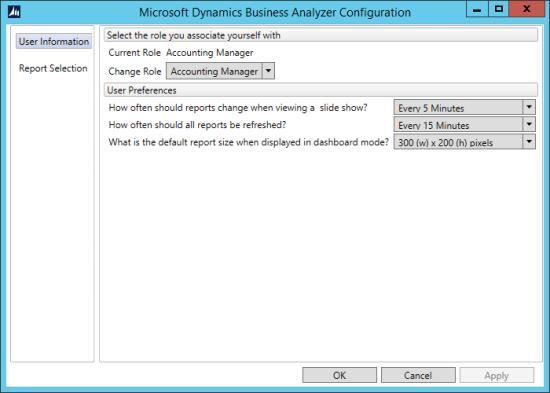 Microsoft Dynamics Business Analyzer Configuration
