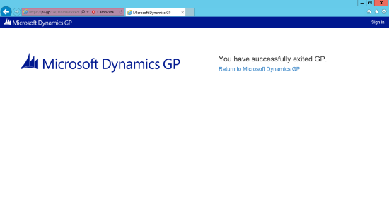 Internet Explorer - Web Client - You have successfully exited GP