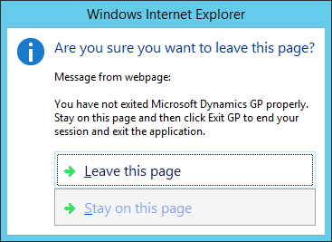 Windows Internet Explorer - Are you sure you want to leave this page?