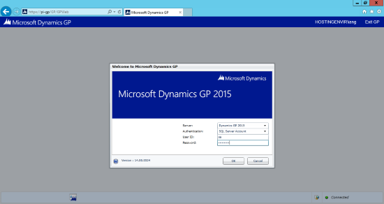 Internet Explorer - Web Client - Welcome to Microsoft Dynamics GP