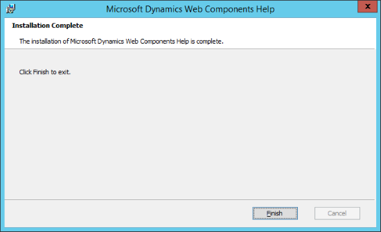 Microsoft Dynamics GP Web Components Help - Installation Complete
