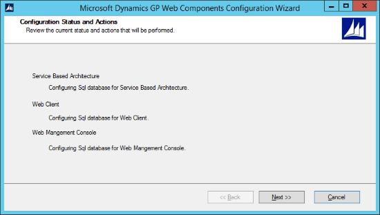 Microsoft Dynamics GP Web Components Configuration Wizard - Configuration Status and Actions