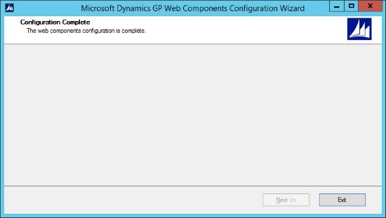 Microsoft Dynamics GP Web Components Configuration Wizard - Configuration Complete