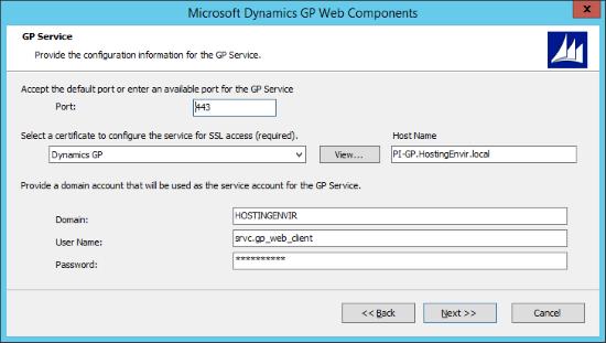 Microsoft Dynamics 2015 Web Components - GP Service