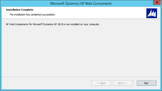 Microsoft Dynamics 2015 Web Components - Installation Complete