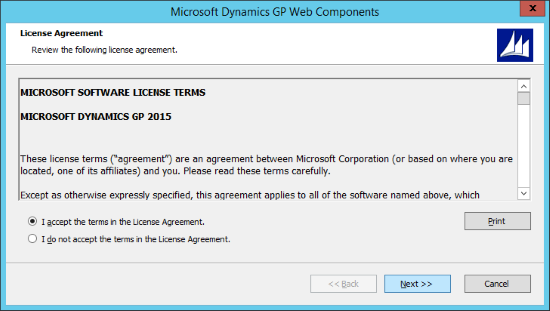 Microsoft Dynamics 2015 Web Components - License Agreement