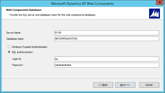 Microsoft Dynamics GP Web Components - Web Components Database