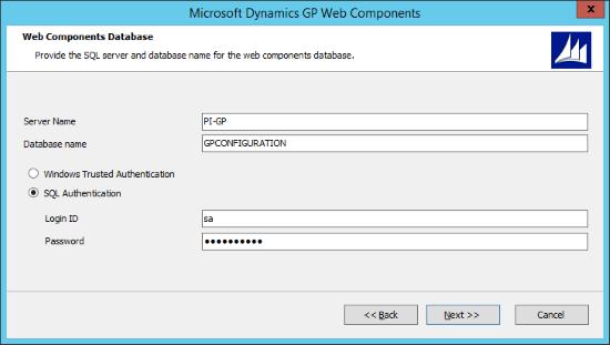 Microsoft Dynamics GP Web Components - Web Components Database