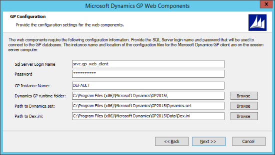 Microsoft Dynamics 2015 Web Components - GP Configuration