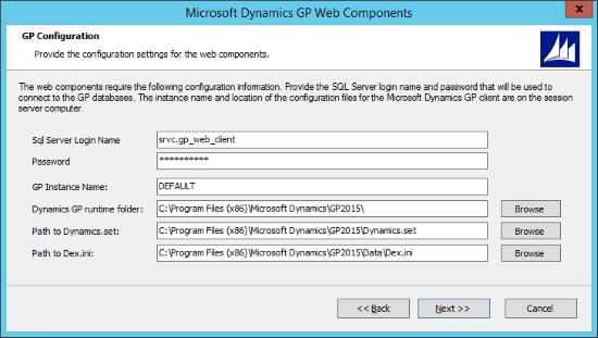 Microsoft Dynamics 2015 Web Components - GP Configuration
