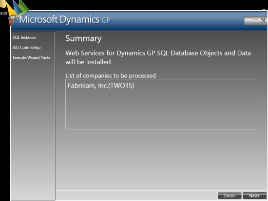 Web Services for Microsoft Dynamics GP Configuration Wizard - Summary