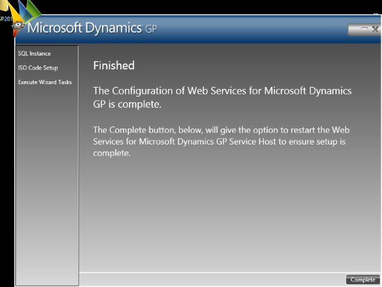 Web Services for Microsoft Dynamics GP Configuration Wizard - Complete